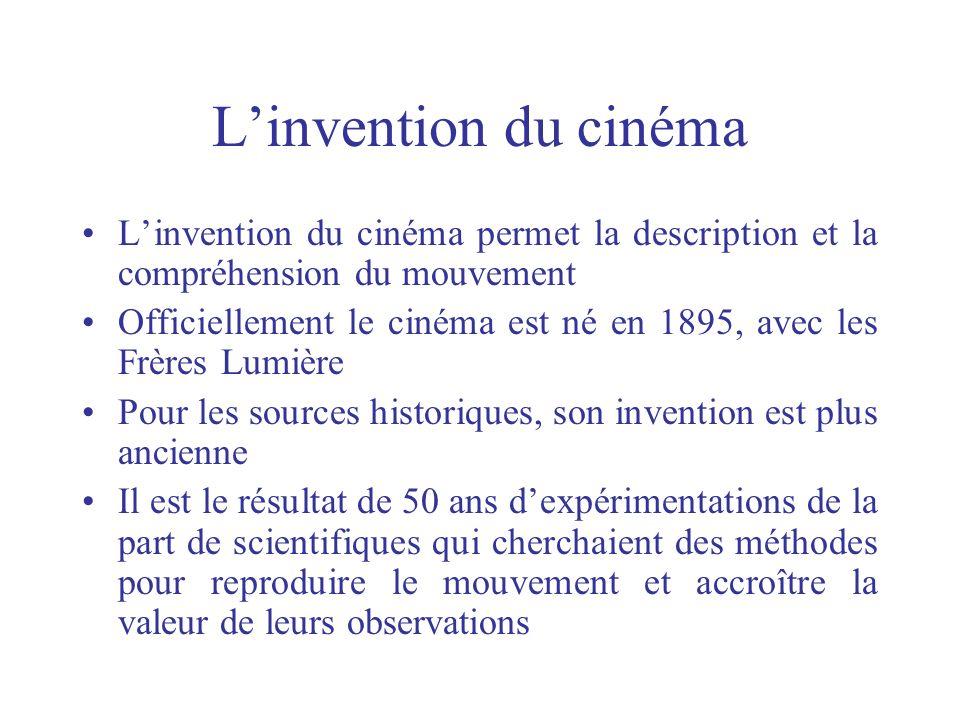L'invention du cinéma L'invention du cinéma permet la description et la compréhension du mouvement.
