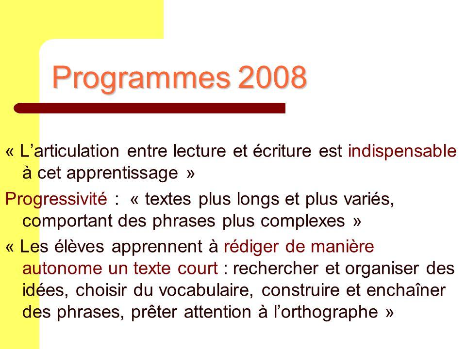 Programmes 2008 « L'articulation entre lecture et écriture est indispensable à cet apprentissage »