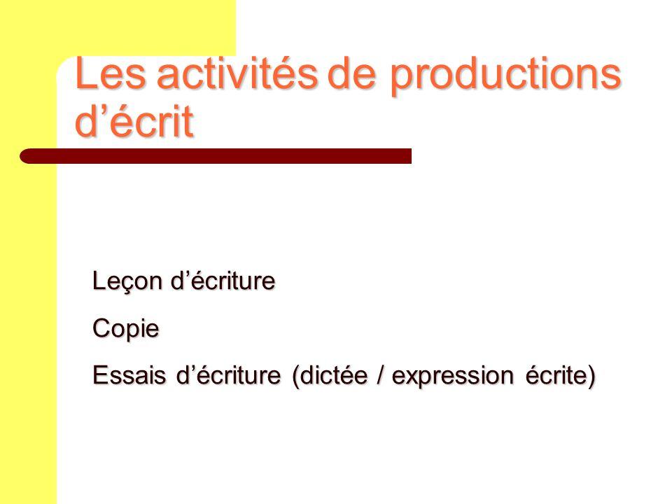 Les activités de productions d'écrit