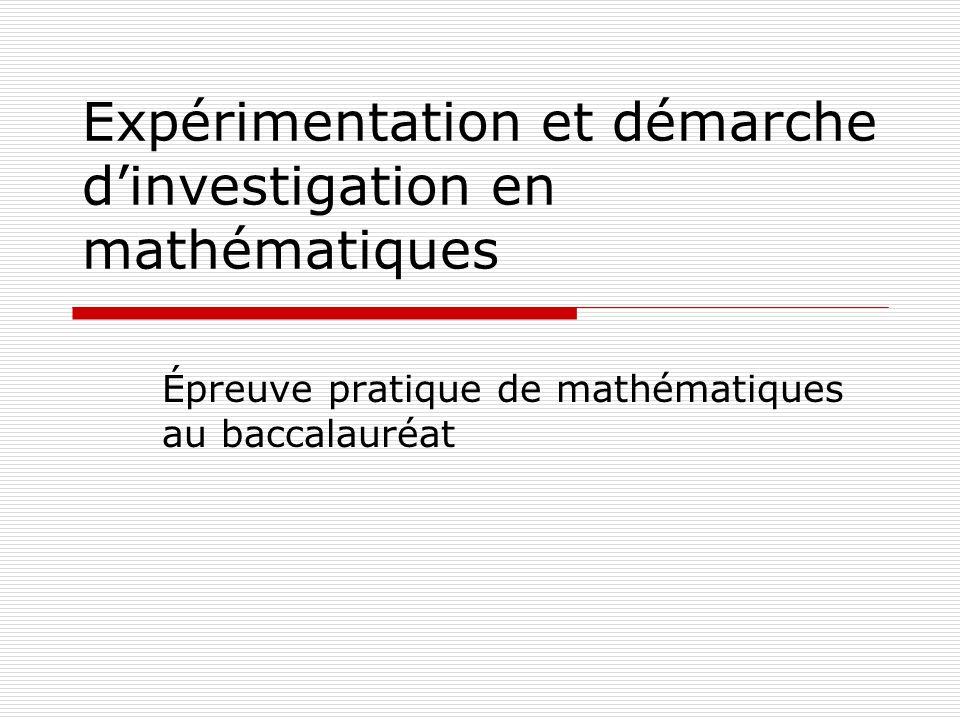 Expérimentation et démarche d'investigation en mathématiques