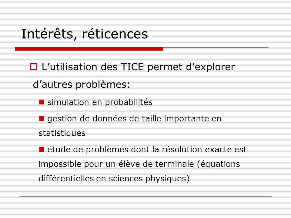 Intérêts, réticences L'utilisation des TICE permet d'explorer d'autres problèmes: simulation en probabilités.