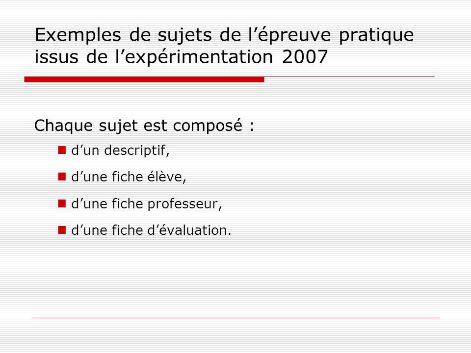 Exemples de sujets de l'épreuve pratique issus de l'expérimentation 2007