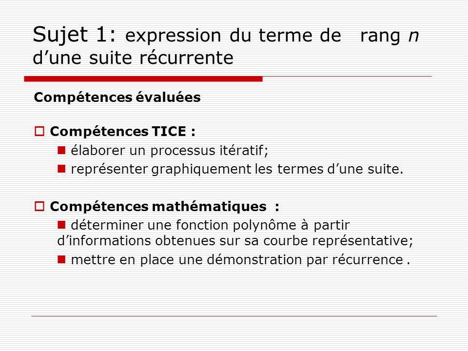 Sujet 1: expression du terme de rang n d'une suite récurrente