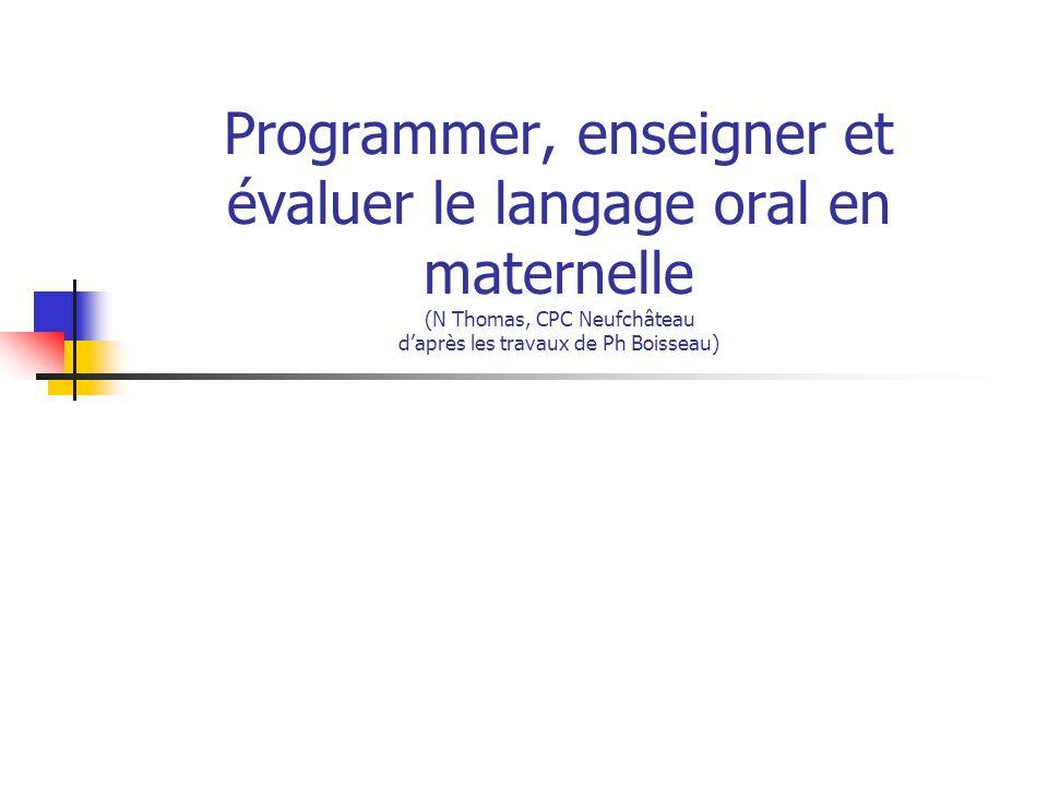 Programmer, enseigner et évaluer le langage oral en maternelle (N Thomas, CPC Neufchâteau d'après les travaux de Ph Boisseau)