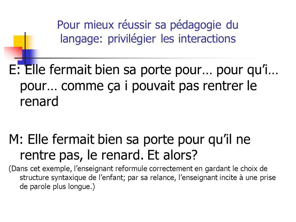 Pour mieux réussir sa pédagogie du langage: privilégier les interactions