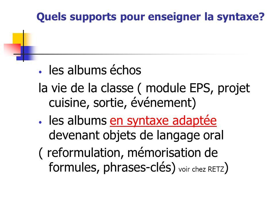 Quels supports pour enseigner la syntaxe