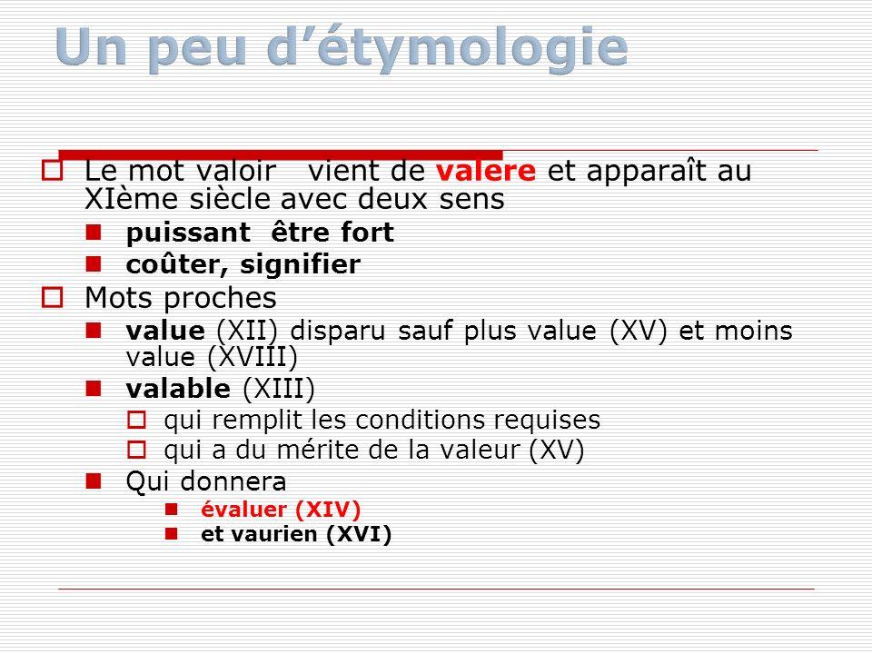 Un peu d'étymologie Le mot valoir vient de valere et apparaît au XIème siècle avec deux sens. puissant être fort.
