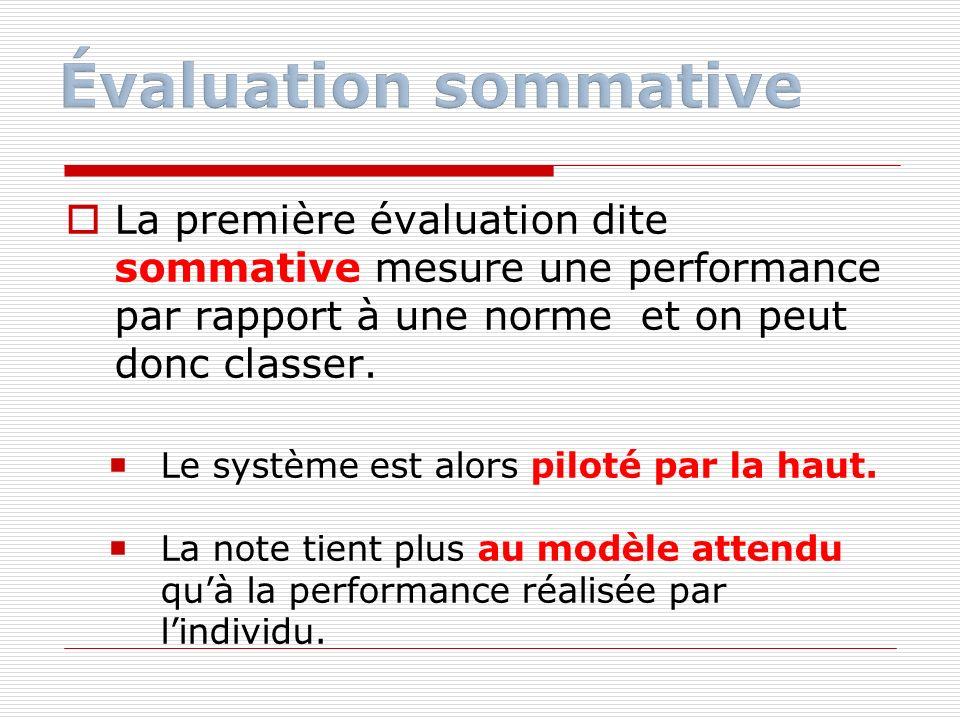 Évaluation sommative La première évaluation dite sommative mesure une performance par rapport à une norme et on peut donc classer.