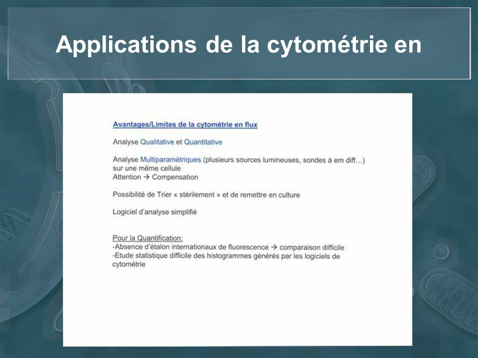 Applications de la cytométrie en
