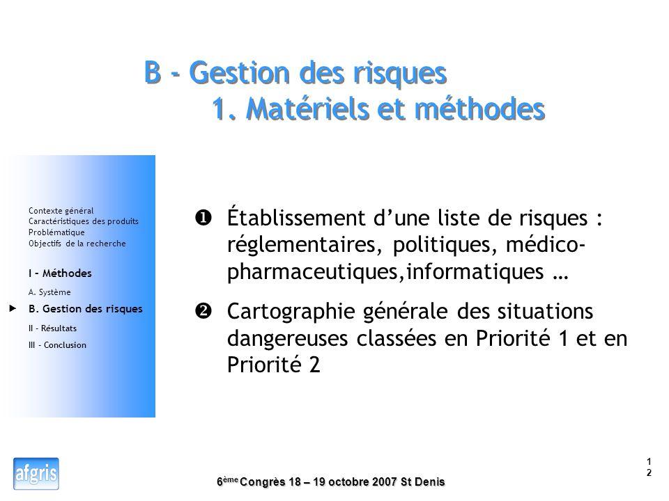 B - Gestion des risques 1. Matériels et méthodes