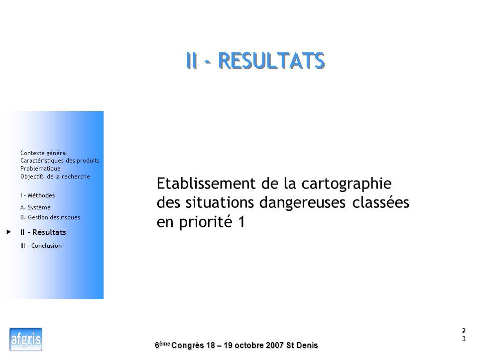 II - RESULTATS Contexte général. Caractéristiques des produits. Problématique. Objectifs de la recherche.