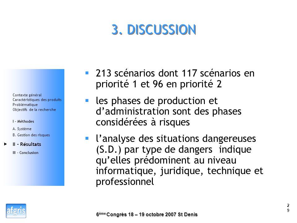 3. DISCUSSION 213 scénarios dont 117 scénarios en priorité 1 et 96 en priorité 2.