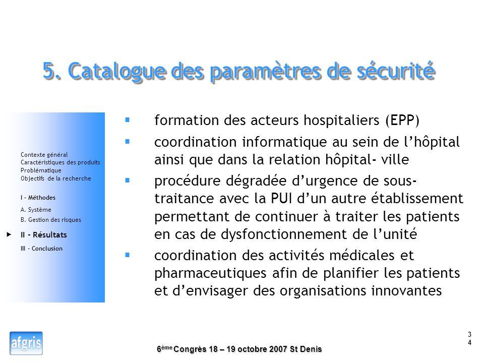 5. Catalogue des paramètres de sécurité