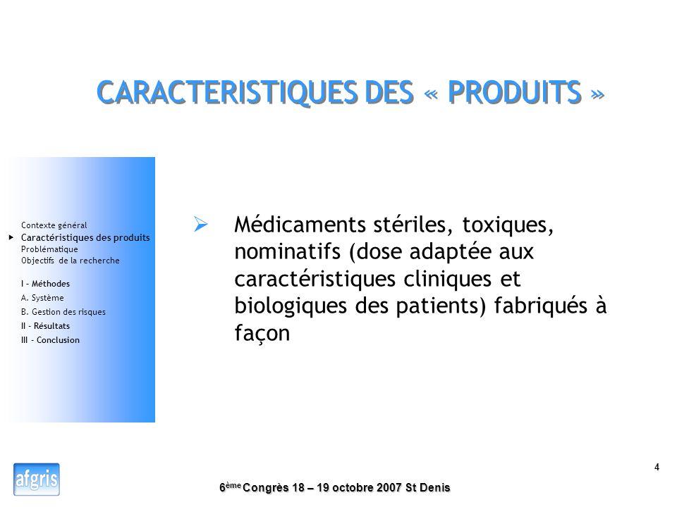 CARACTERISTIQUES DES « PRODUITS »