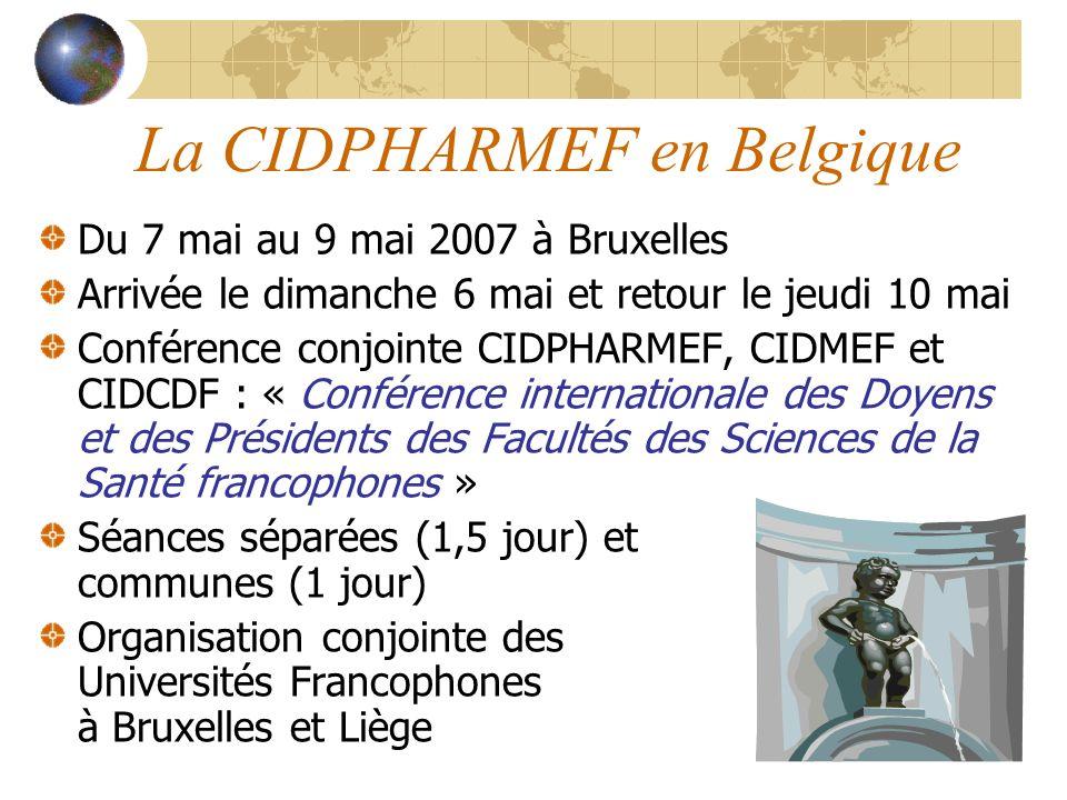 La CIDPHARMEF en Belgique