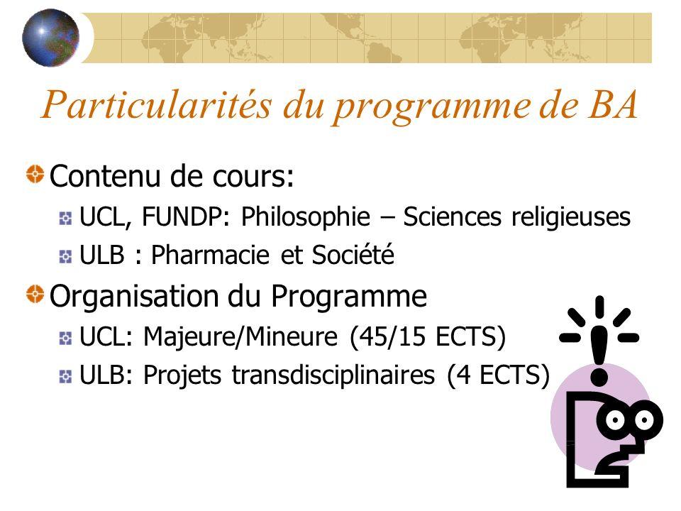 Particularités du programme de BA