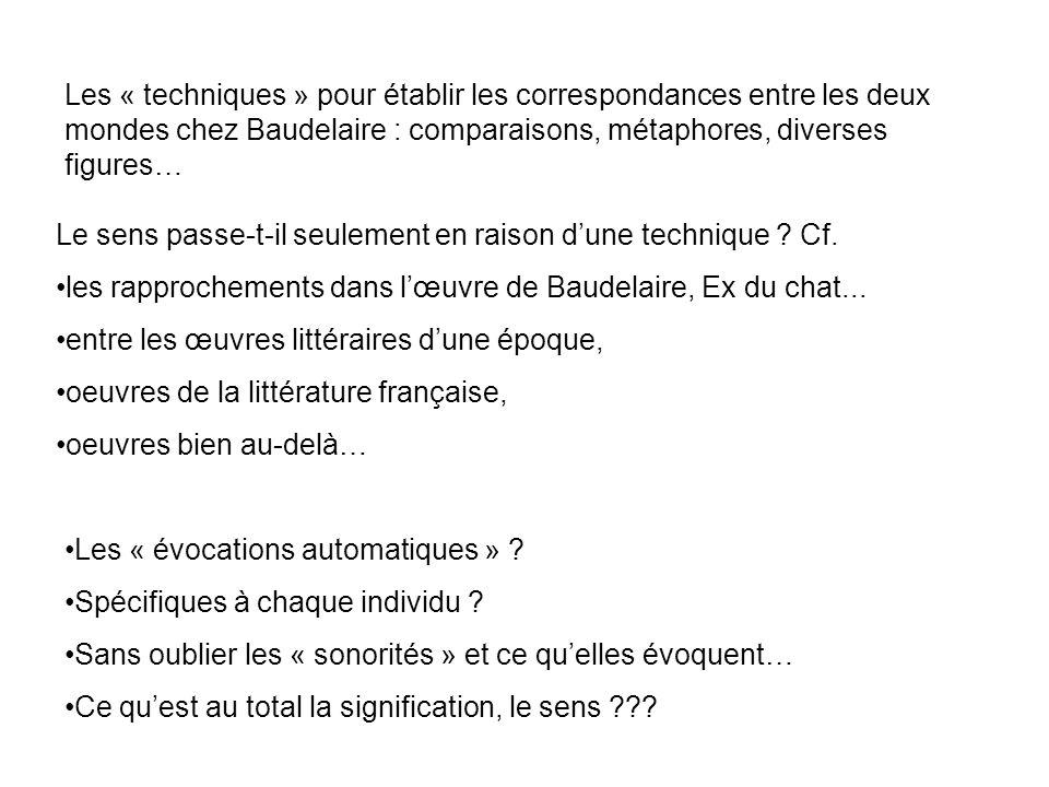 Les « techniques » pour établir les correspondances entre les deux mondes chez Baudelaire : comparaisons, métaphores, diverses figures…