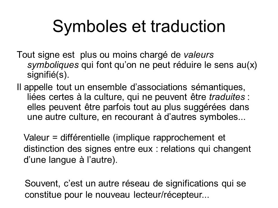 Symboles et traduction