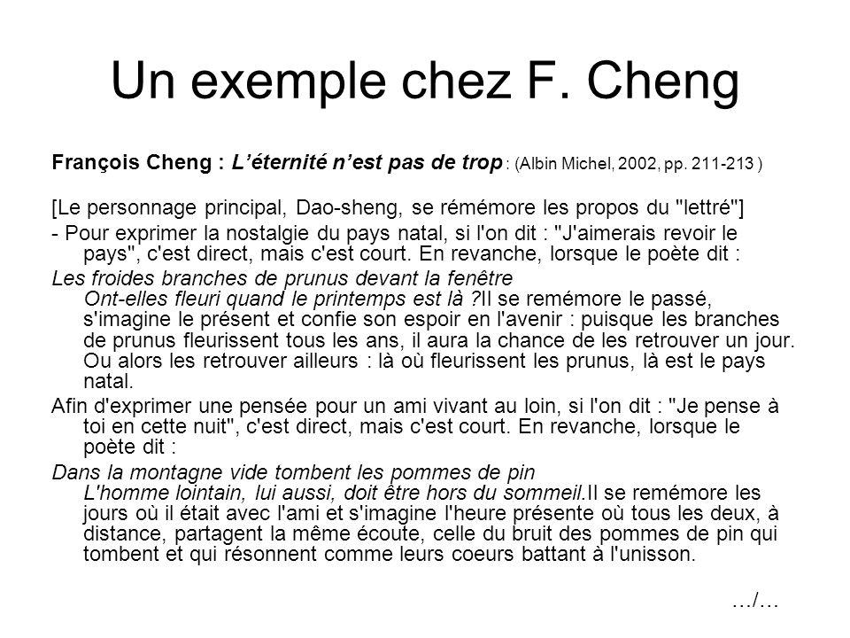 Un exemple chez F. Cheng François Cheng : L'éternité n'est pas de trop : (Albin Michel, 2002, pp. 211-213 )