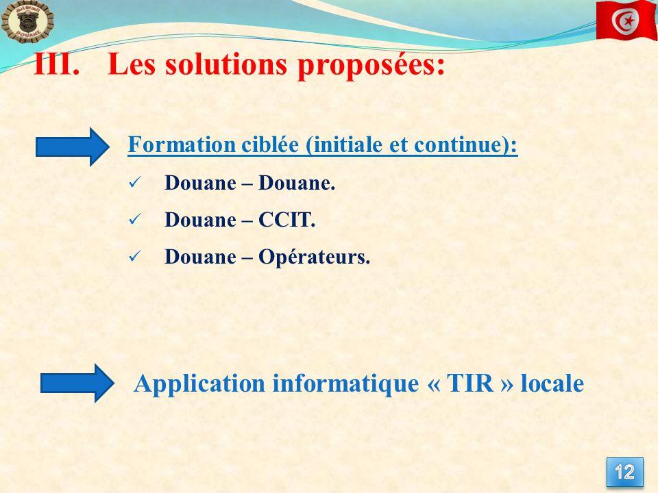 Les solutions proposées: