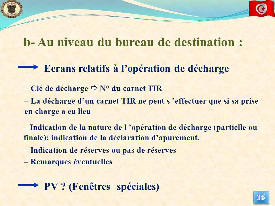b- Au niveau du bureau de destination :