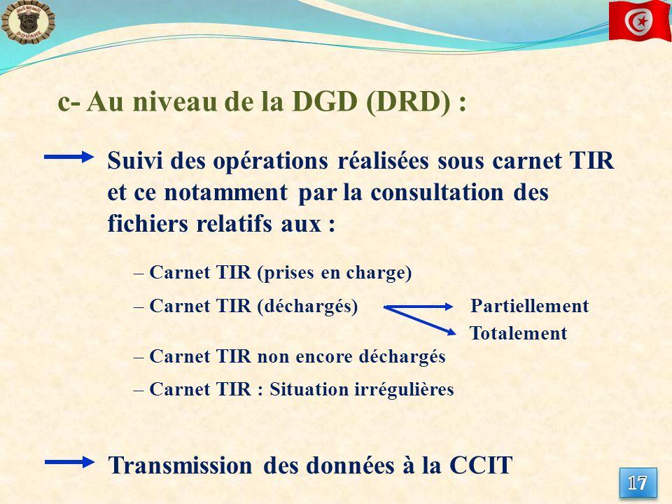 c- Au niveau de la DGD (DRD) :