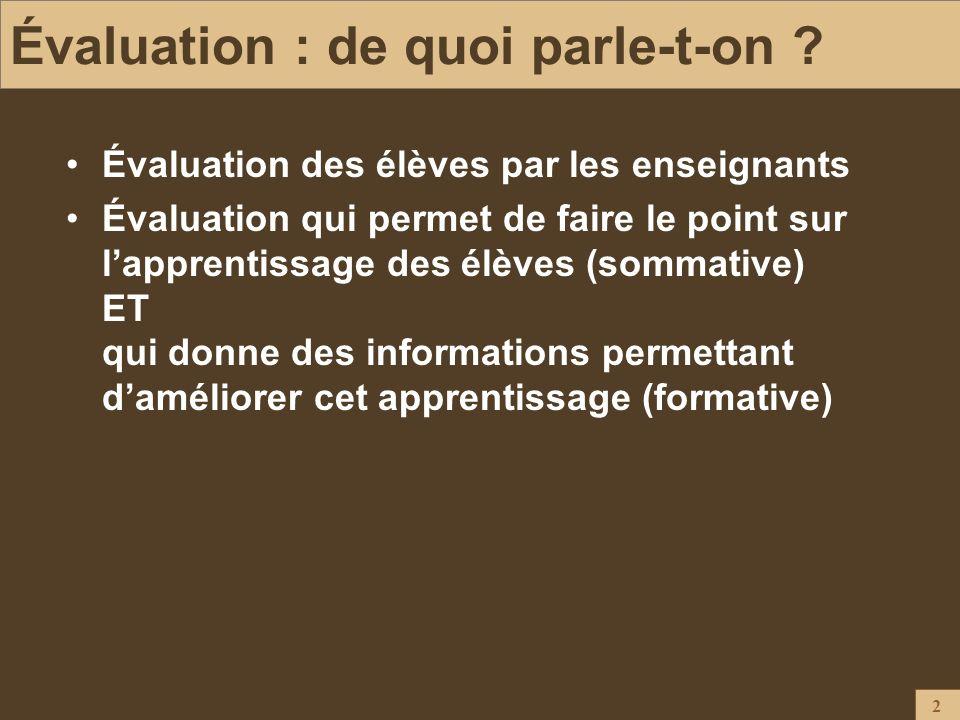 Évaluation : de quoi parle-t-on