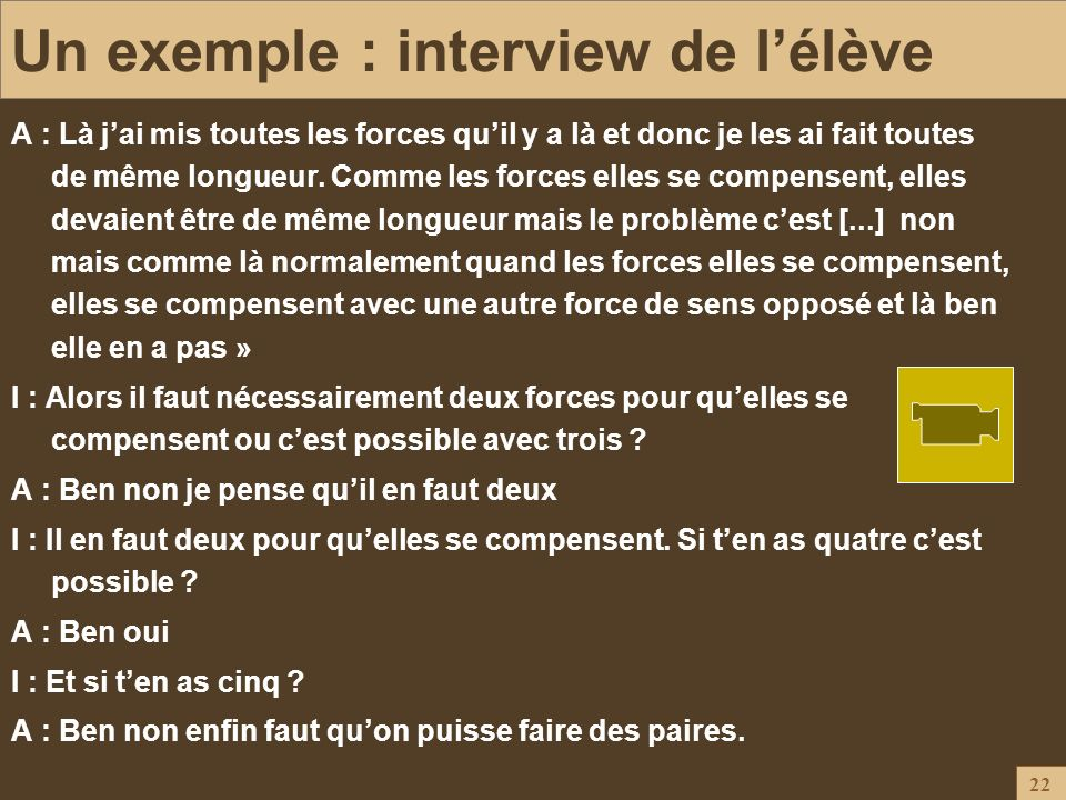 Un exemple : interview de l'élève