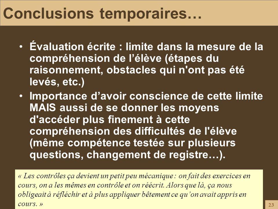 Conclusions temporaires…