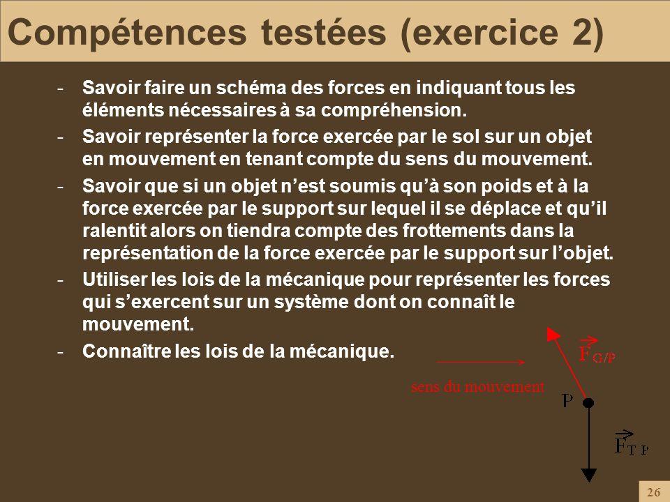 Compétences testées (exercice 2)