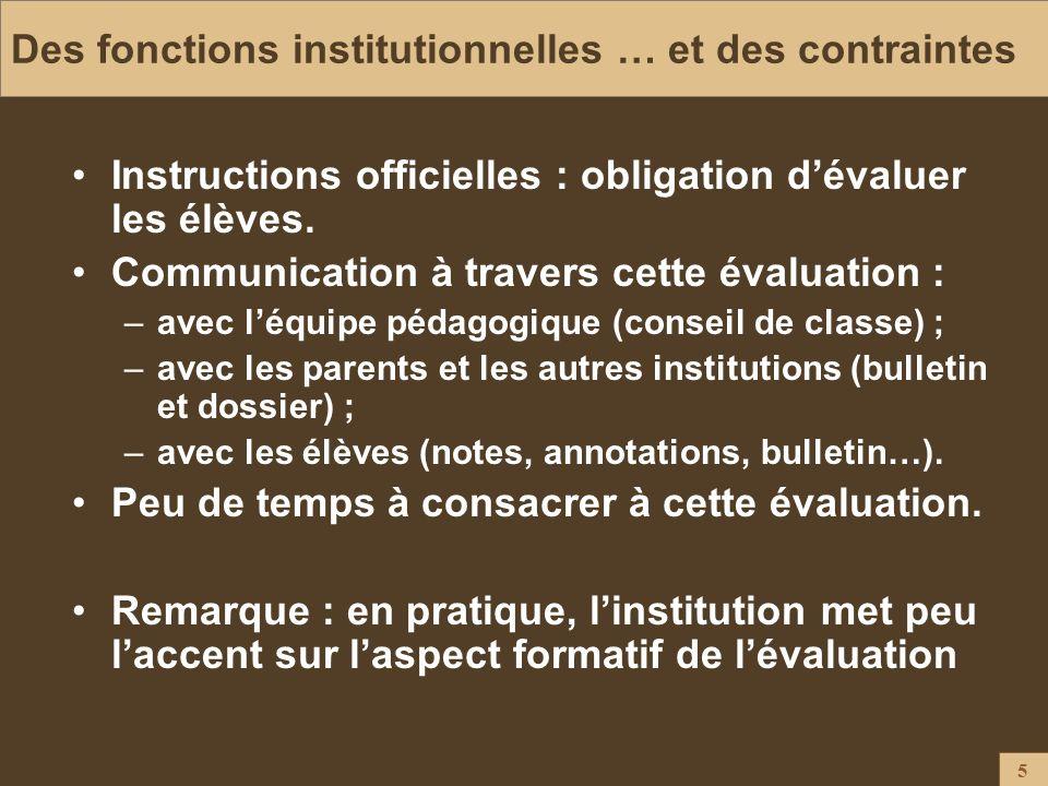 Des fonctions institutionnelles … et des contraintes
