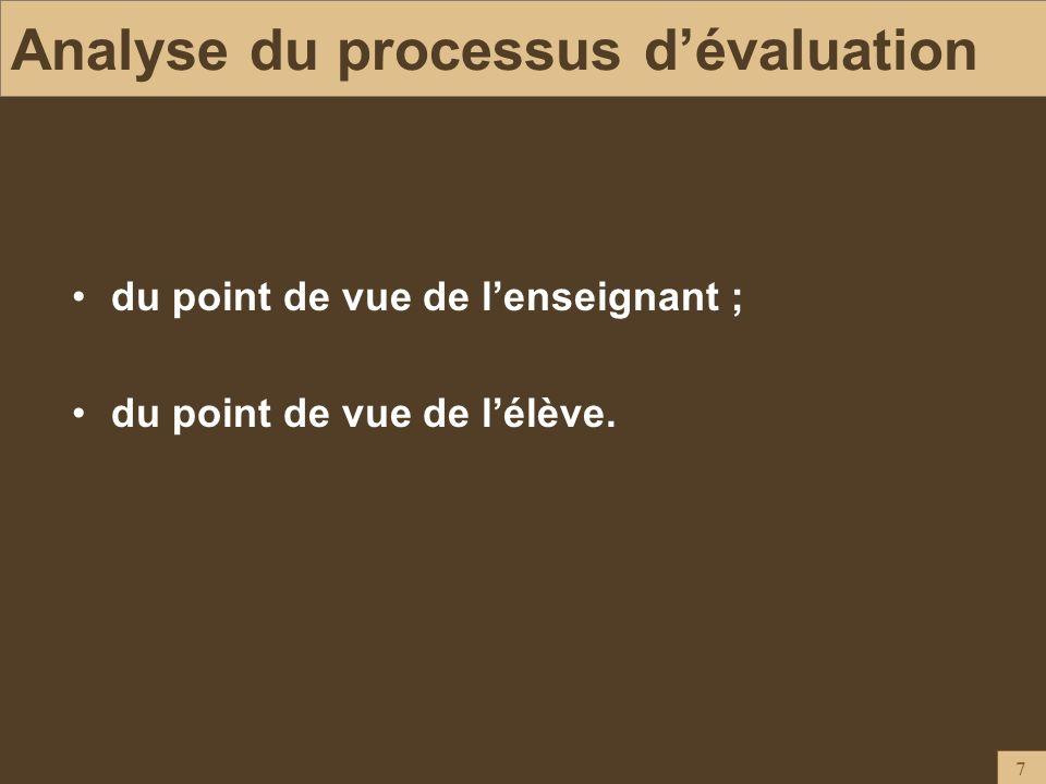 Analyse du processus d'évaluation