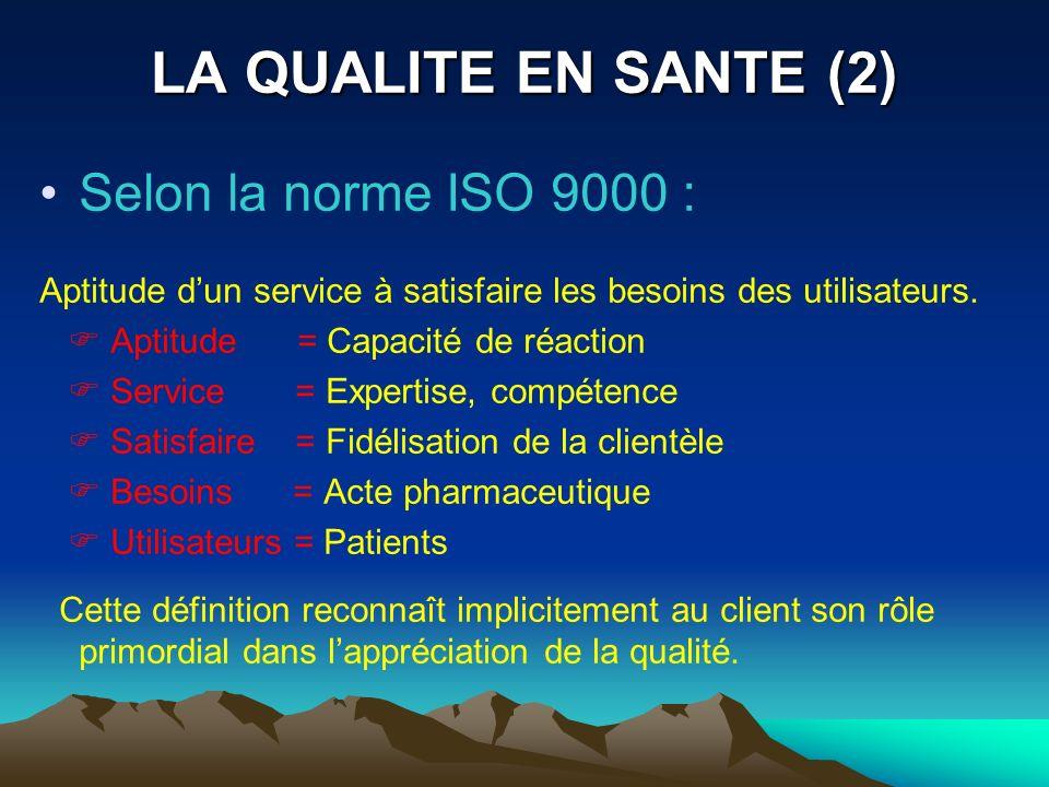 LA QUALITE EN SANTE (2) Selon la norme ISO 9000 :