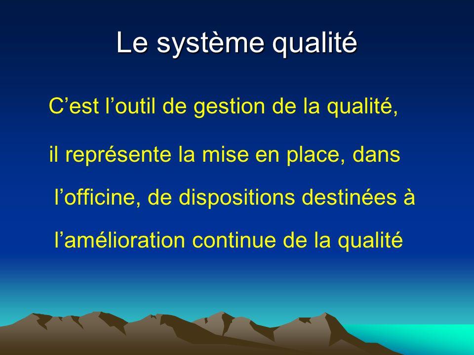 Le système qualité C'est l'outil de gestion de la qualité,