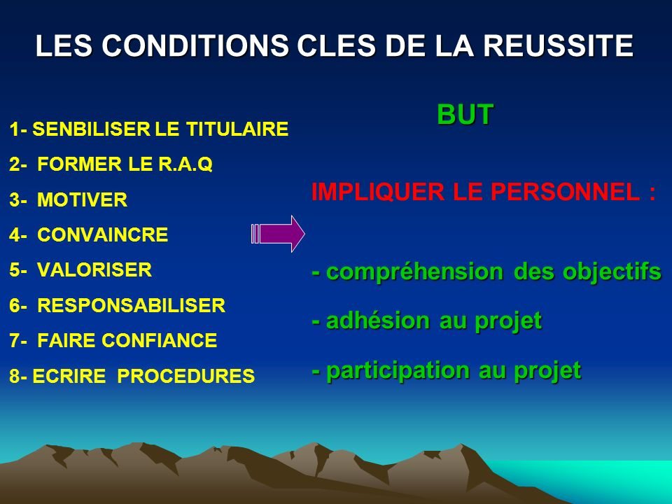 LES CONDITIONS CLES DE LA REUSSITE
