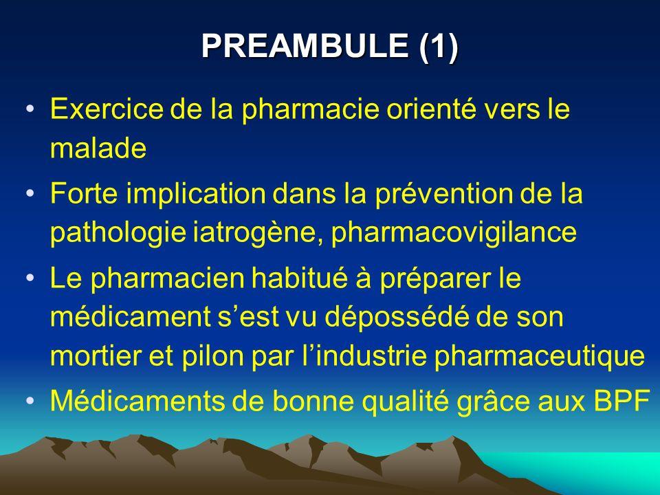 PREAMBULE (1) Exercice de la pharmacie orienté vers le malade