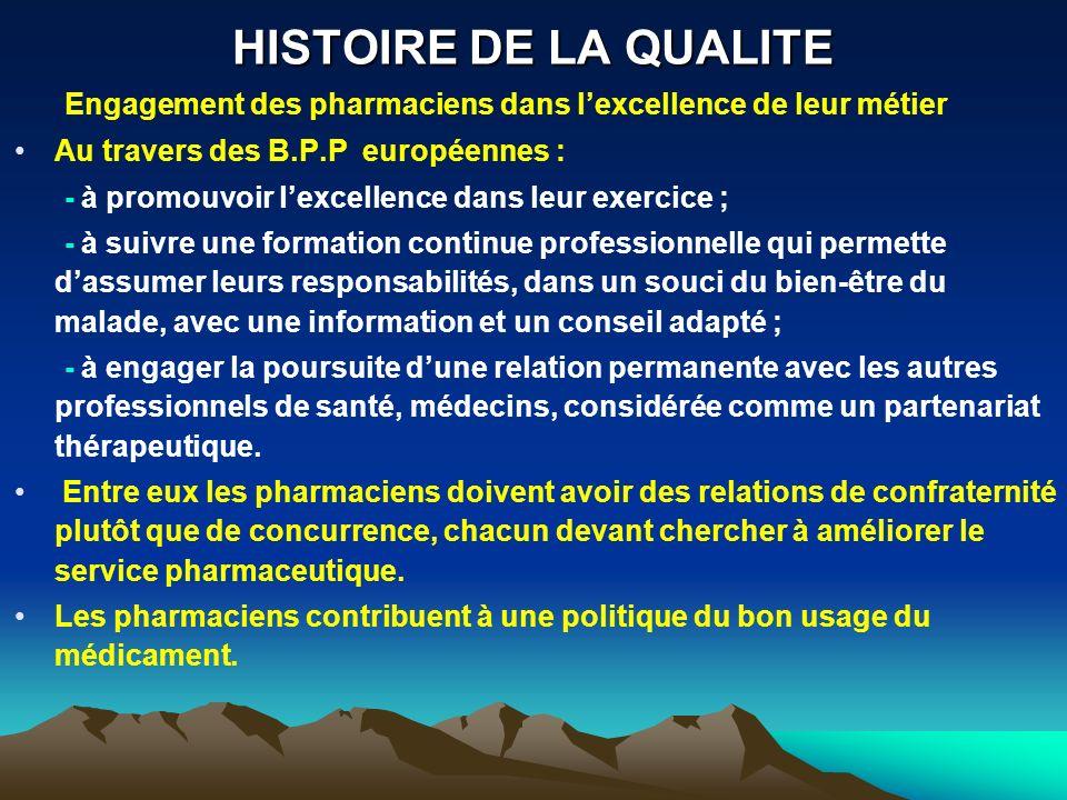 HISTOIRE DE LA QUALITE Engagement des pharmaciens dans l'excellence de leur métier. Au travers des B.P.P européennes :