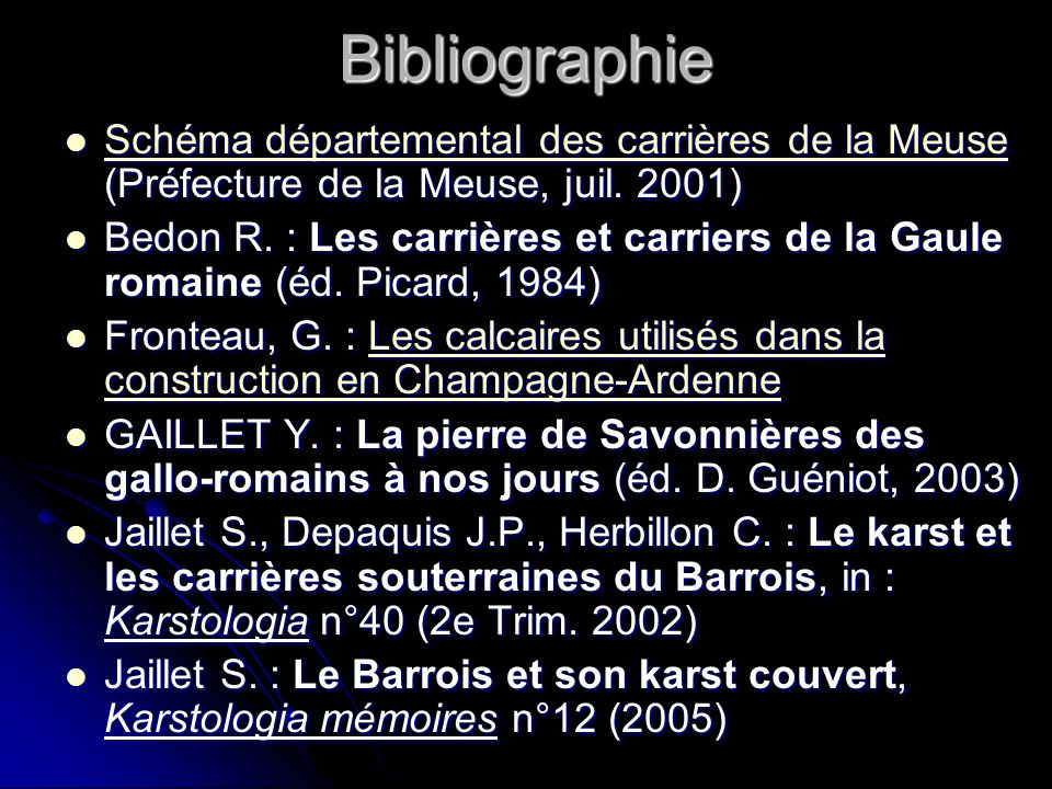 Bibliographie Schéma départemental des carrières de la Meuse (Préfecture de la Meuse, juil. 2001)