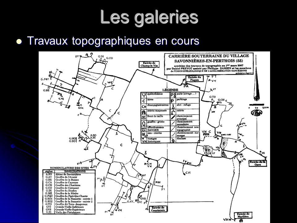 Les galeries Travaux topographiques en cours