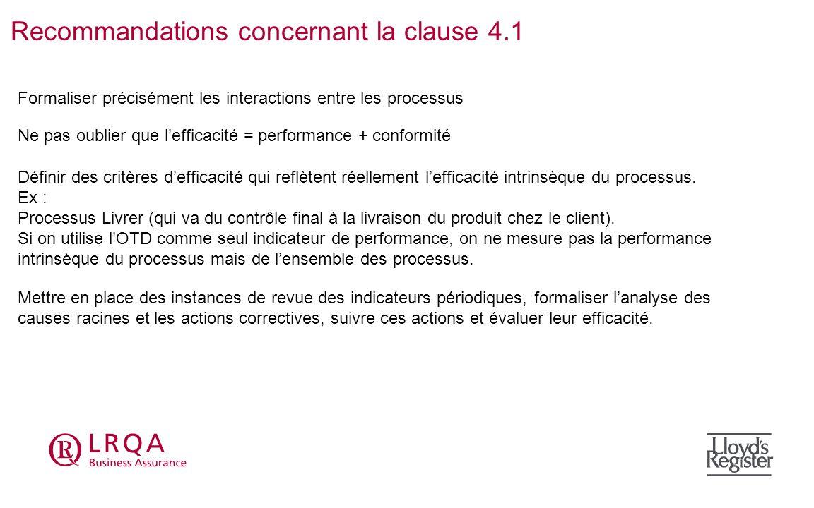 Recommandations concernant la clause 4.1