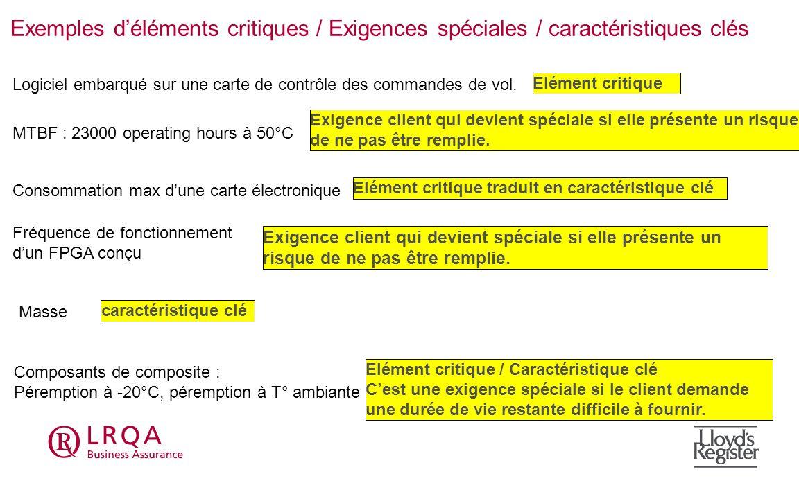 Exemples d'éléments critiques / Exigences spéciales / caractéristiques clés