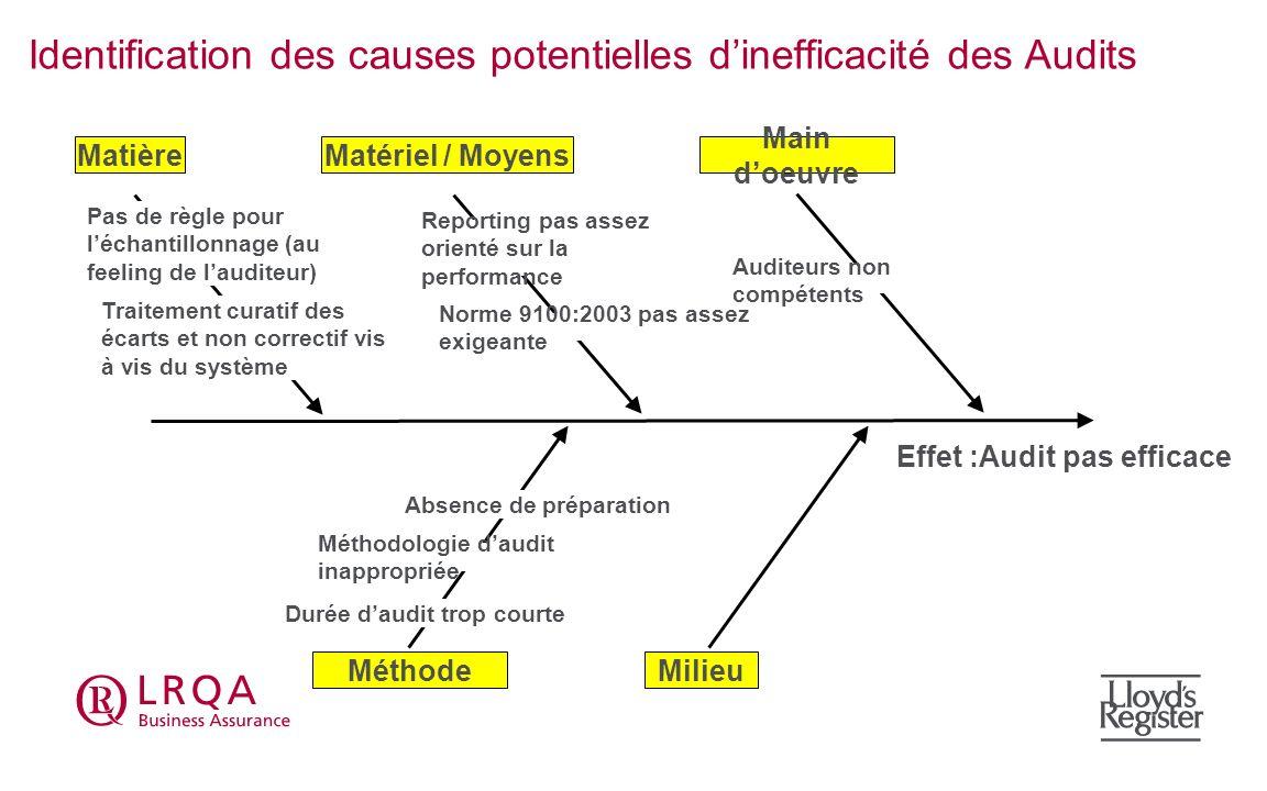 Identification des causes potentielles d'inefficacité des Audits