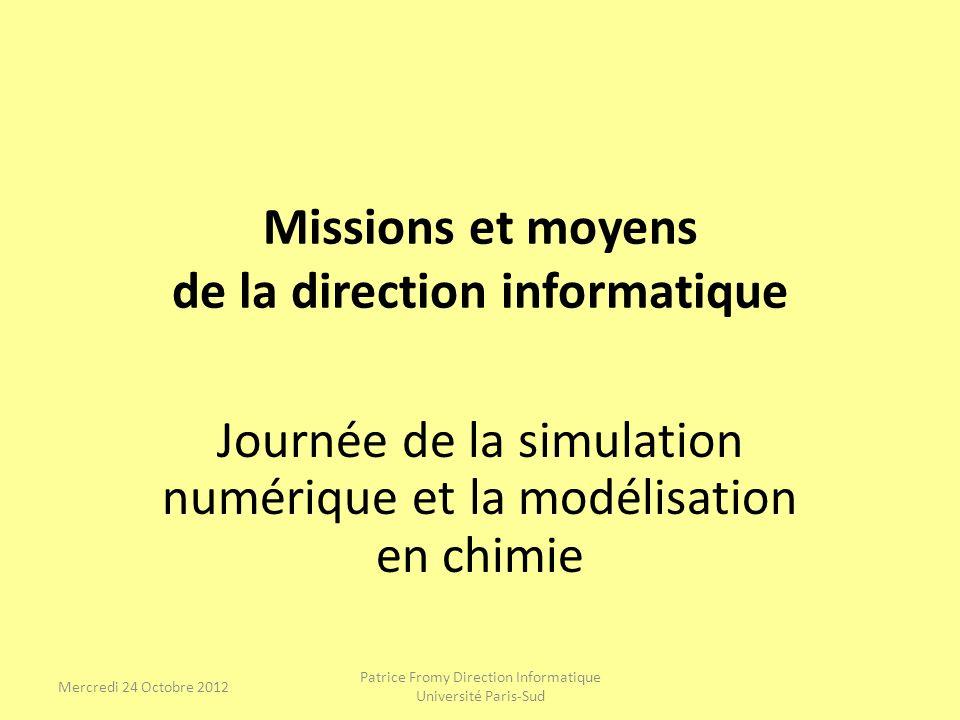 Missions et moyens de la direction informatique