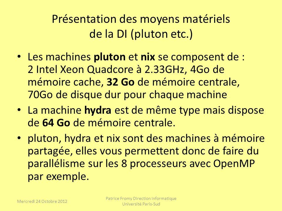Présentation des moyens matériels de la DI (pluton etc.)