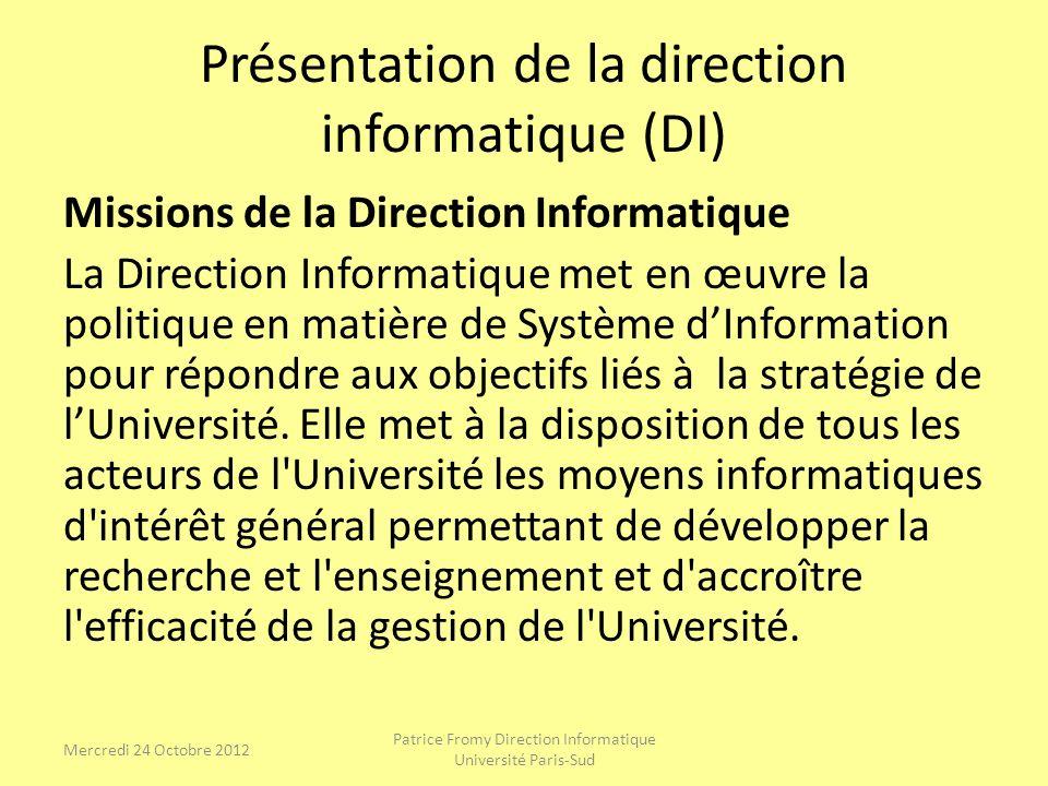 Présentation de la direction informatique (DI)