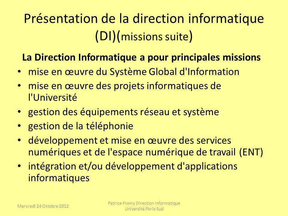 Présentation de la direction informatique (DI)(missions suite)
