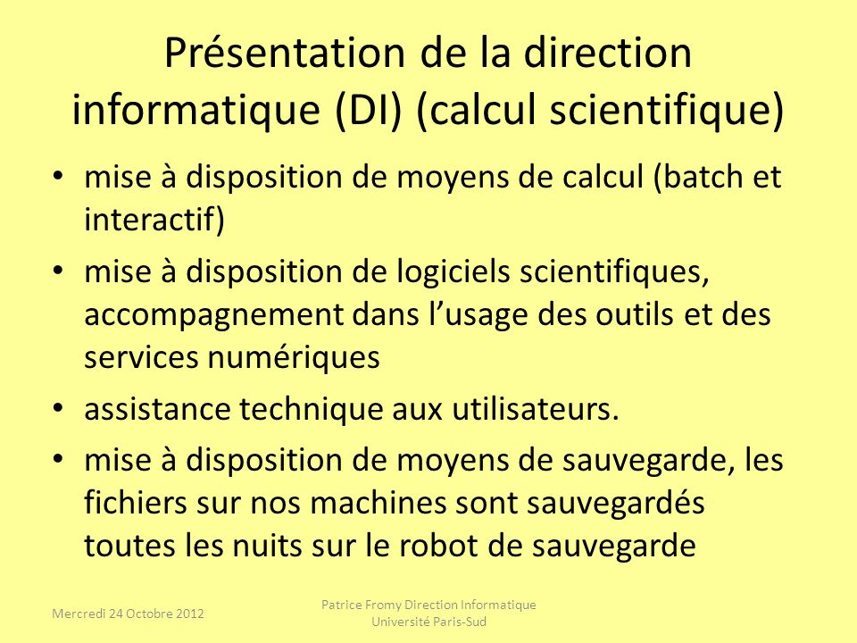 Présentation de la direction informatique (DI) (calcul scientifique)
