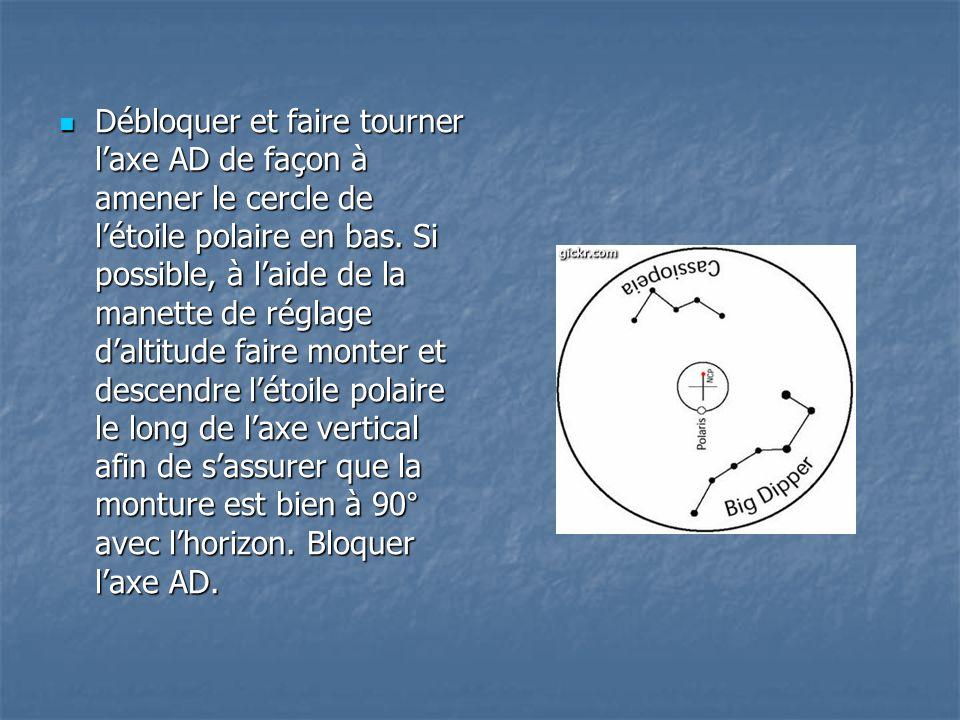 Débloquer et faire tourner l'axe AD de façon à amener le cercle de l'étoile polaire en bas.