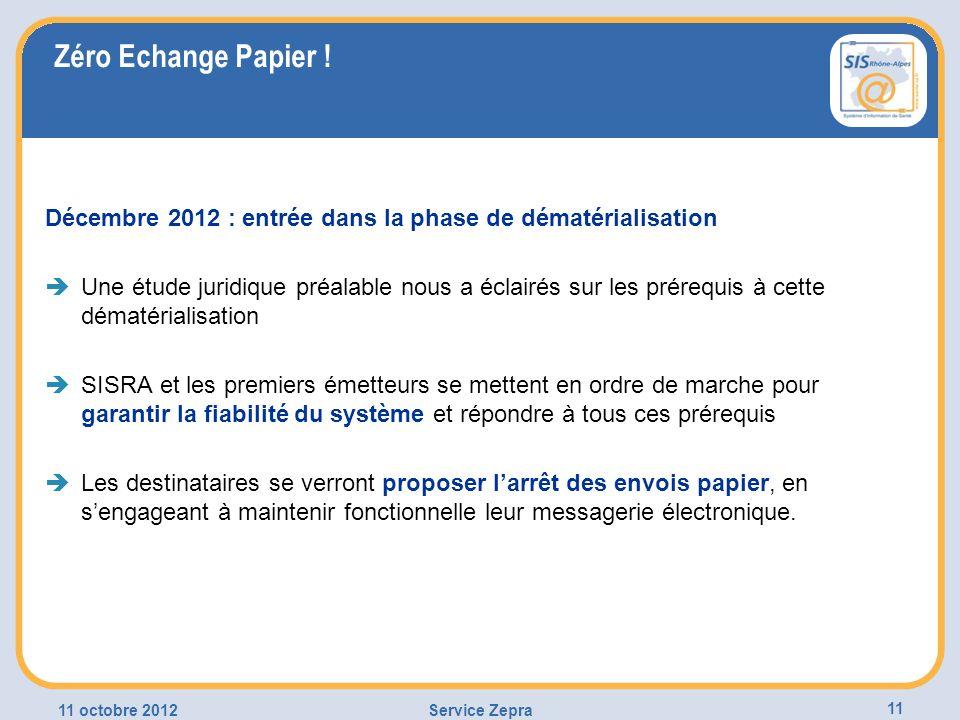 Zéro Echange Papier ! Décembre 2012 : entrée dans la phase de dématérialisation.