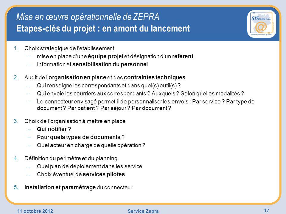 Mise en œuvre opérationnelle de ZEPRA Etapes-clés du projet : en amont du lancement